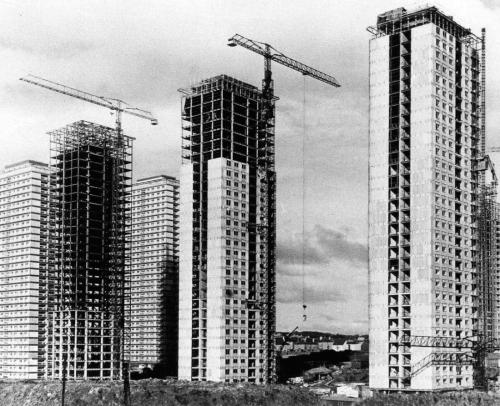 Red Road estate under construction, Glasgow, Scotland, 1966